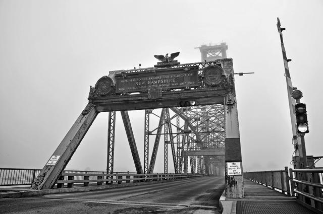 World War Memorial Bridge in Fog; Portsmouth, NH